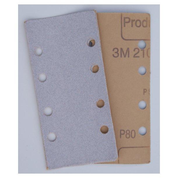 3M sandpapir ark 8 huller 81x166 mm. (P80)